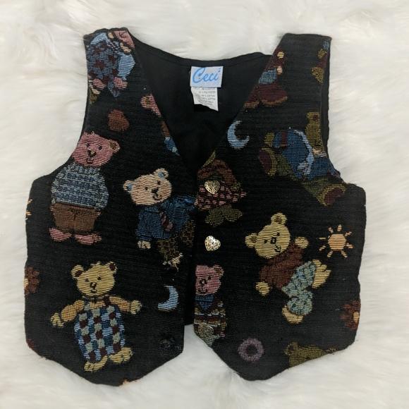 Ceci Child's Vintage Vest Teddy Bear Embroidery